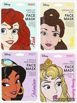 Official Disney Princess Face Mask Ariel Belle Jasmine Sleeping Beauty Aurora