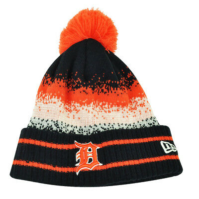 MLB New Era Spec Blend Detroit Tigers Cuffed Pom Pom Knit Beanie Hat Toque  Blue f097ea673a8b