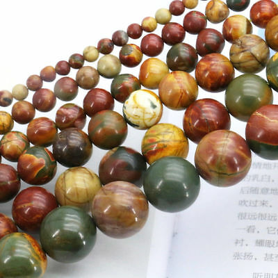 Natural 4/6/8/10Mm Picasso Jasper Gemstone Round Loose Beads 15 ""