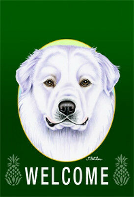 Large Indoor/Outdoor Welcome Flag (Green) - Great Pyrenees 74146