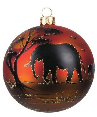 Elephant in the Savannah African Silhouette Ball Polish Glass Christmas Ornament
