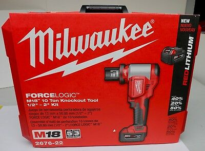 New Milwaukee 2676-22  M18 SS Knockout 1/2''-2'' Kit ForceLogic 10 Ton Knockout