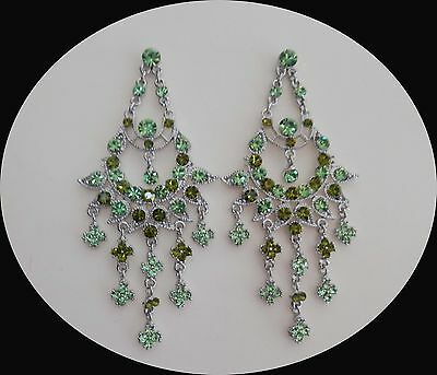Party Chandelier Earrings with Peridot/Olivine Australia Crystal E2123E