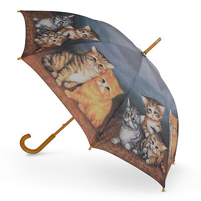 Cascada Collection Art Print Walking Umbrella with Wood Hook Handle - Kittens