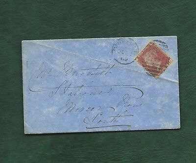 GB 1869 Queen Victoria penny 1d red plate 120 used on cover Driffield - Louth