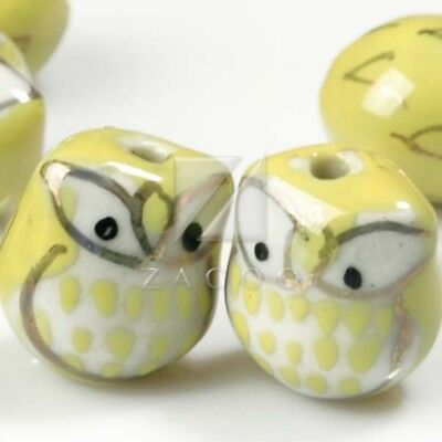 10pcs DIY Spacer Porcelain Owl Beads charm 17x15mm Fit Necklace Yellow PB0014
