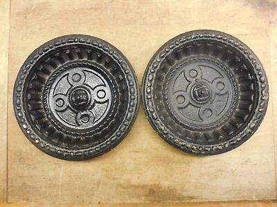 matched pair Victorian era Cast Iron Drip Pan for Hall Tree / Umbrella Stand