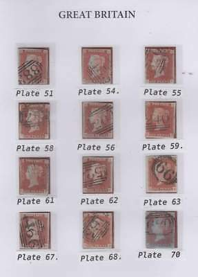 12 x 1841 1d. red-brown; various plates as illustrated.