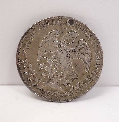 Estate Found 1833 Mexico 8 Reales Silver Coin Guadalupe y Calvo Mint Mark Holed