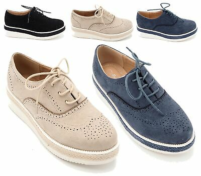 c8b8157714b5 Womens Ladies Lace Up Chunky Platform Wedge Flat Brogues Loafers Creepers  Shoes