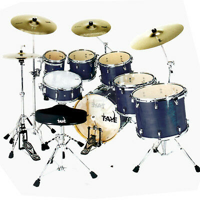 "Taye Pro X 5 Piece Fusion Drum Kit 22"" Bass Blue Satin + Hardware"