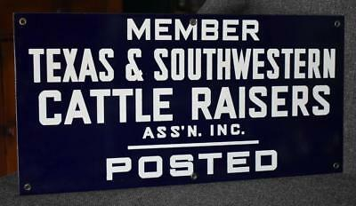 Millionaire Cattle Ranchers Member Sw Cattle Raisers Assn Posted Blue White Sign