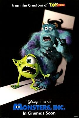 Monsters Inc - original DS movie poster  D/S 27x40 INTL - Rare version - VG