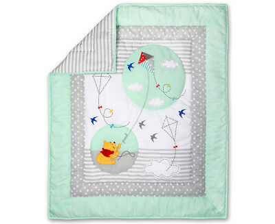 Disney Baby Pooh Let's Fly A Kite Cot Quilt - Mint