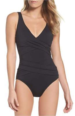 0a9201ca13d47 Tommy Bahama Pearl Wrap Front One-Piece Swimsuit Black TSW41125P Size 12