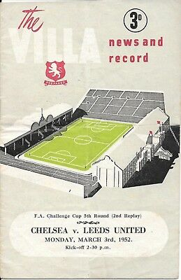 Chelsea v Leeds United FA Cup 5th Round 2nd Replay at Aston Villa 1951/52