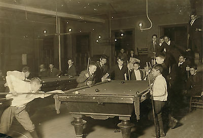 "1915 Photo, Billiards, POOL, Antique view Newsboys, BOSTON, MASS- 20""x14"""