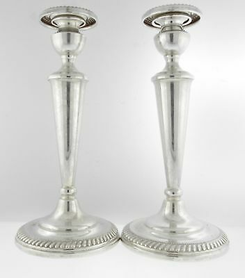 "Vintage Arrowsmith 10"" Tall Solid Sterling Silver Candle Sticks Holder"