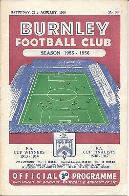 Burnley v Chelsea FA Cup 4th Round 1955/56