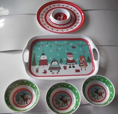 5 x Christmas serving Dishes & Trays,1 x Tray, Chip & Dip plate & 3 Bowls