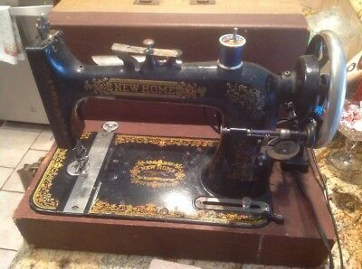 1900's Antique New Home Sewing Machine Orange Mass Model B 1929 Works Smooth