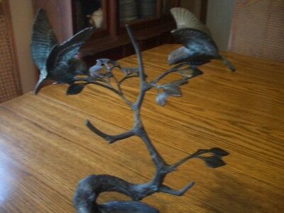 Mid Century Brass Birds Metal Sculpture sparrows in a tree  unsigned