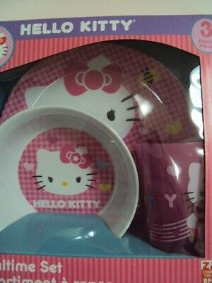 Zak! Hello Kitty 3 Piece Mealtime Set, Plate, Bowl, Tumbler Bpa Free, New