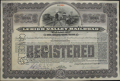 USA Lehigh Valley Rialroad gold bond 1000 Dollar 1944 Eisenbahn Vignette