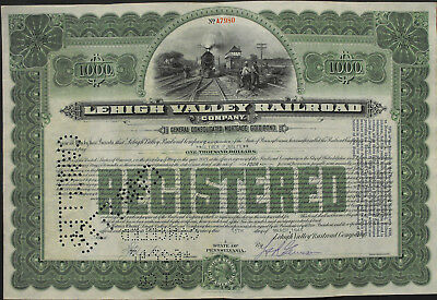 USA Lehigh Valley Rialroad gold bond 1000 Dollar 1945 Eisenbahn Vignette grün