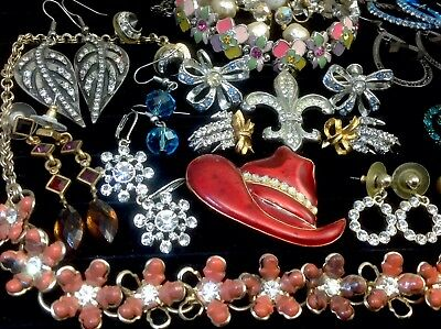 Large Lot Of Vintage~Now Rhinestone, Crystal, Glass... Jewelry  (E210)