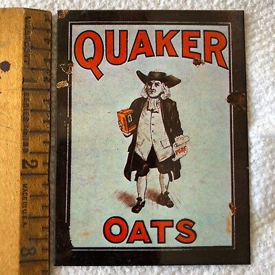 """Vintage Quaker Oats Enamel Metal Advertising Sign small 2 1/4 X 3"""" Miniature OLD"""