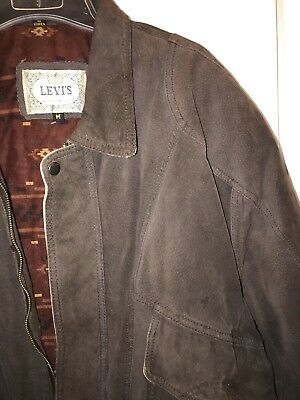 Vintage Levi's Bomber Style Insulated Brown Leather Jacket Mens Size Medium