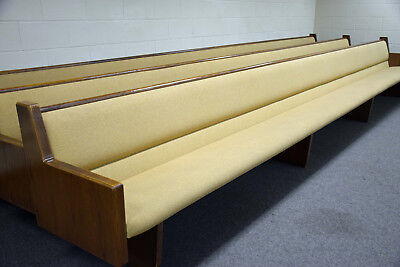 Lot of 9 Used Padded Church PEWS - pick up only - dark wood beige seats