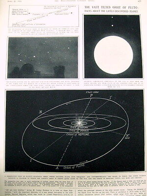 1931 illustrated newspaper with display on the DISCOVERY of PLUTO - a new planet