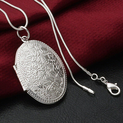 Unisex Fashion Silver Plated Alloy Carving Locket Pendant Chain Necklace Cheap
