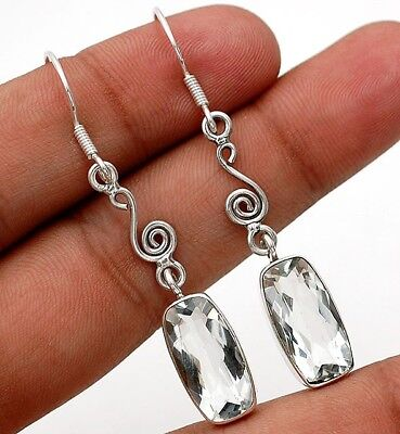 """12CT White Topaz 925 Solid Sterling Silver Earrings Jewelry 2 1/5"""" Long"""
