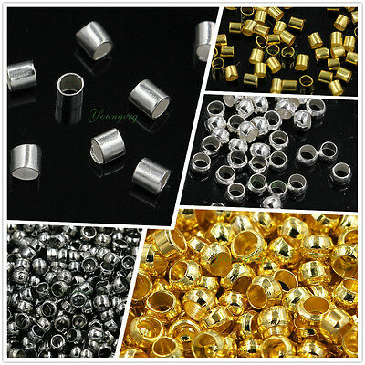 Cord Crimp Tube Beads Silver Gold Black Bronze Plated 1.5/2/2.5/3mm Wholesale
