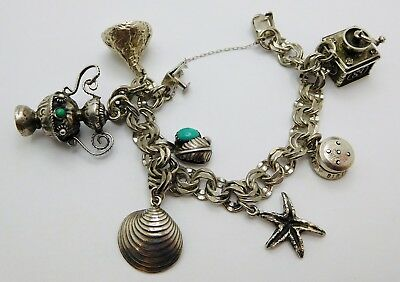 VINTAGE Sterling Silver Ladies Charm Bracelet with Charms MECHANICAL