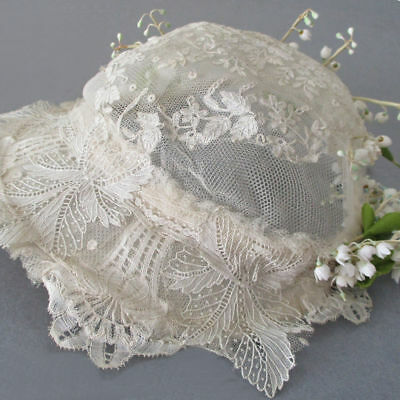 Antique Handmade BRUSSELS Bobbin LACE Wedding BRIDAL CAP w Lilies of the Valley