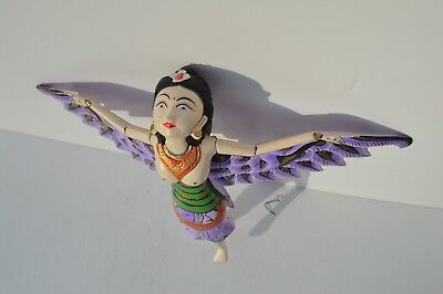 Beautiful Vintage Asian Folk Art Hand Carved Painted Wooden Doll Flying Nymph