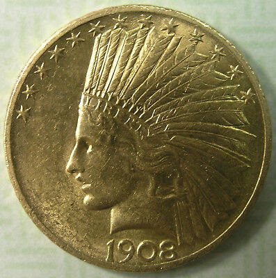 $10 1908 With Motto Indian Head Gold Eagle Slider AU-BU Better Date * AvenueCoin