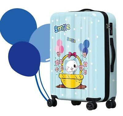 A527 Lock Universal Wheel Blue Cartoon Cat Travel Suitcase Luggage 20 Inches W