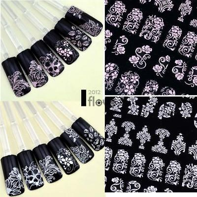 108PCS White FLOWER LACE 3D NAIL ART STICKERS DECALS SELF ADHESIVE TRANSFERS