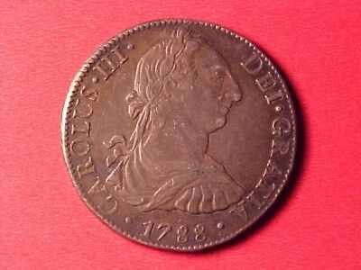 Mexico Colonial 8 Reales Silver Crown 1788-Fm Choice About Ef Nice Original