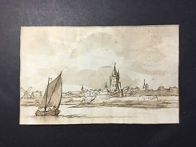 Old Master Drawing 17thC Dutch Genre Scene Pen And Ink Seaside Town