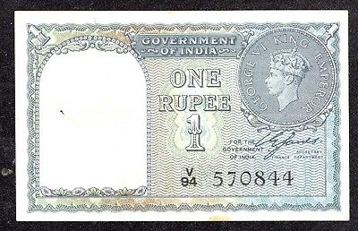 India - 1 Rupee (1940) Pick 25d - F+ spindle hole