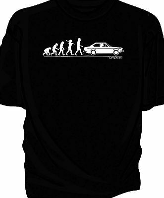 'Evolution of Man' classic car t-shirt.    Fiat 124 Coupe
