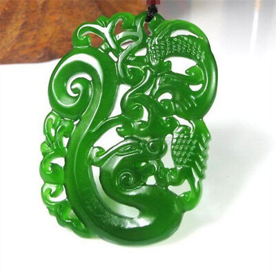 China hand-carved Green jade dragon Phoenix Pendant Necklace Amulet Bridal jewel