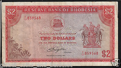 Rhodesia :$2 Rhodes Watermark ,10th April 1979 - P,35d,VF