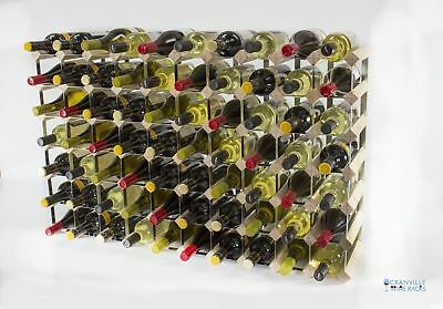 Cranville 70 bottle pine wood and metal wine rack ready to use